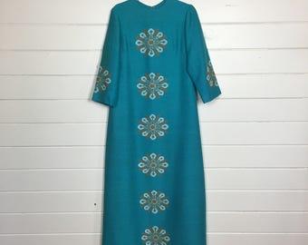 Vintage Turquoise Wool Floral Caftan / Metallic / Maxi Dress / Bohemian / Size L