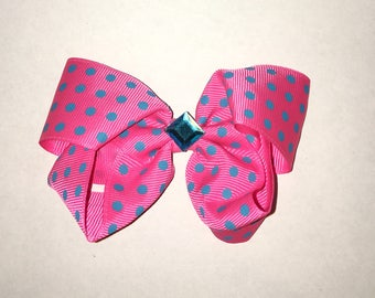 Small Pink and Teal Hair Bow