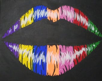 Rainbow Kiss Painting