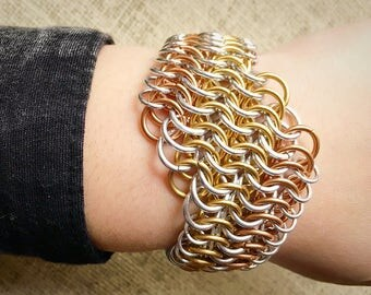 Chainmail Bracelet - European 6 in 1 Weave in Silver, Solid Brass, and Solid Bronze