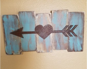 Rustic Wood Pallet Sign, Metal Arrow Heart, Home Decor, Wall Art, Vintage Home Decor, Teal, Brown Tan Wall Plaque, Distressed Wood