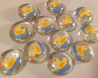 Hand Painted Glass Gems 12 Rubber Duckie