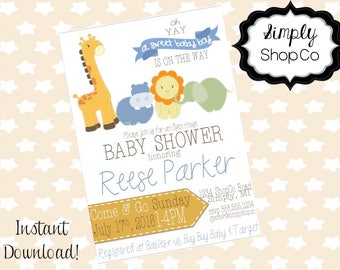 Zoo animals baby shower invitations, zoo, printable, you print, DIY instant download, editable baby shower template, blue, baby boy.
