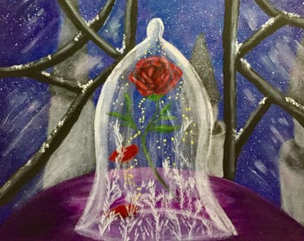 Beauty and the Beast Painting, Enchanted Rose  Painting