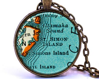 St. Simons Island, Georgia Map Pendant Necklace - Created from a vintage map published in 1937.