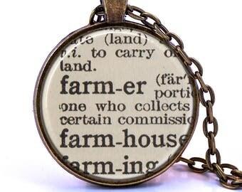 Farmer Dictionary Pendant Necklace, Gift for Farmer, Farmer Birthday Gift