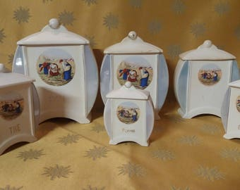Canisters with lids ceramic vintage
