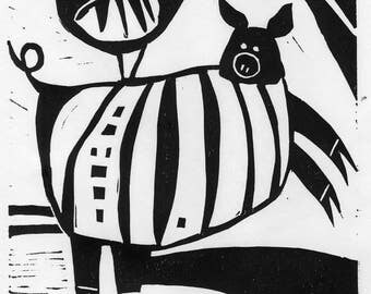 Pig and Rooster Linocut: Hitchhiking - linocut, black and white, whimsical, relief print, hand printed, limited edition, original art work