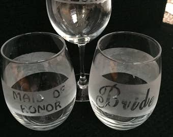 Bridal Party Etched Wine