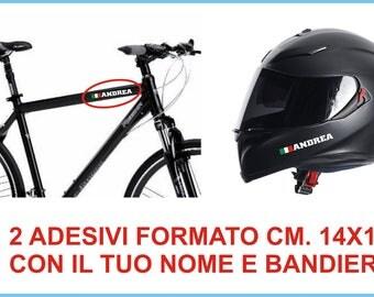 2 Names stickers bike + helmet flag car sticker