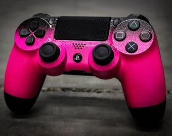 Custom PlayStation 4 Controller - Sparklescent Pink & Metallic Black Fade