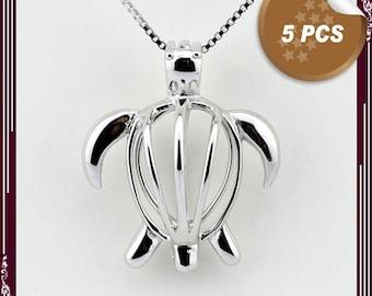 Bulk of 5pcs - Choose Silver cages pendant TURTLE pearl locket