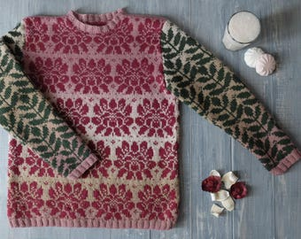 Jacquard hand-knit sweater Sketch in pink