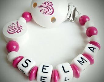 "Attach nipple ""Macha Allah"" white and fuschia - model ""Selma"""