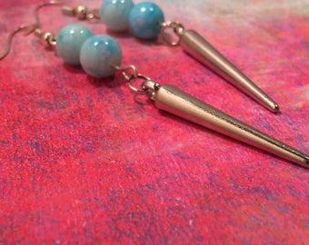 Blue Pearl Spike Earrings