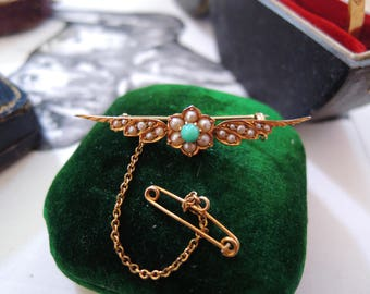 Antique Victorian Gold Turquoise Natural Pearl Brooch