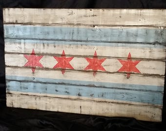 City of Chicago Wooden Flag Wall Art