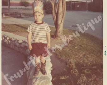 Instant Download, Vintage Photograph of Boy with feather paper hat and cowboy boots