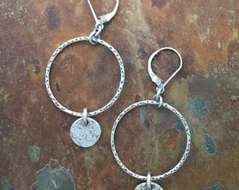 Hoop Earrings | Minimalist Earrings with Silver Charm Dangle