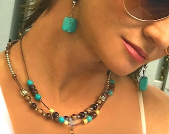 Stackable Set Earthtone Brown Necklace & Earrings with turquoise gemstone