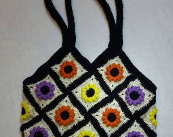 Handmade Knit Crochet Flower Handbag