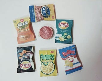 Dollhouse Miniature Chips and Snacks, Ruffles, Lay's, Sun Chips, Rold Gold   1:12 Scale