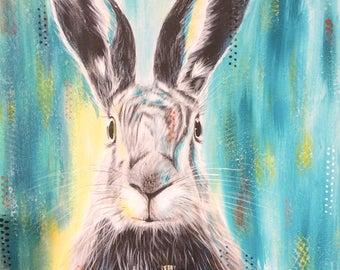 Rabbit on canvas, painting acrylic and texture, canva, handmade, original
