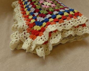 """Vintage Crocheted Afghan 55"""" x 66"""""""