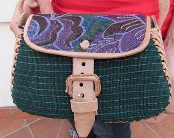 Purse, bag, cross body, leather, satchel, embroidered, floral, Guatemalan