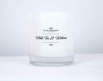White Tea & Wisteria Scented Tumbler Candle, Natural Wax