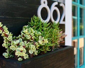 Wooden Address Planter Box, Customizable Succulent Planter, Address Display, House Numbers