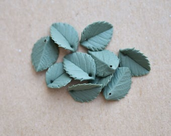 Handmade leaves, Polymer clay supplies, Fimo leaves, Fimo handmade beads, Gray fimo leaves