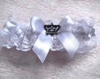 wedding garterWhite Wedding GarterWhite Lace GarterWedding Clothing Ivory Lace over Satin SatinSetwith Beautiful Garter for the brideWedding