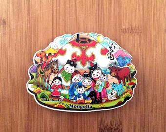 Cute Mongolian family magnet