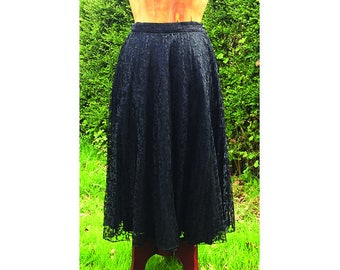 Vintage 1950's black lace circle skirt
