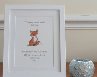 Personalised new baby print- fox. Framed