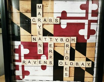 Maryland State Flag Scrabble Picture,Maryland State Flag Decor,Maryland State Flag