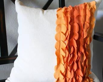 Orange Ombre Striped Pillow Cover