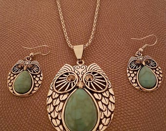 Turquoise Owl Pendant and Earrings