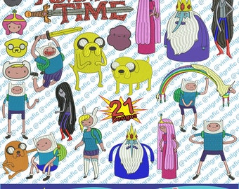 Adventure Time Kit of 21 Embroidery Designs Sewing Patterns Kit Brother pes dst hus jef emb with Resizer Converter Software Included