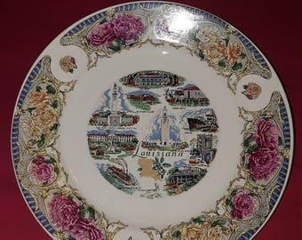 Louisiana state souvenir plate