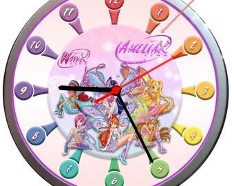 NEW Kids WINX CLUB Personalised Wall Clock Children Gift
