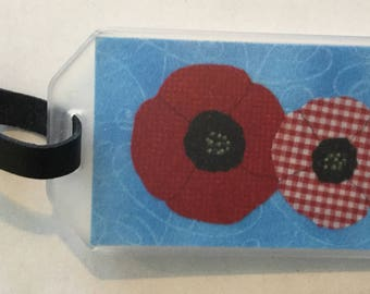 Poppies  Fabric  Luggage Tag