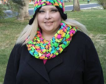 Neon women's scarf and hat set