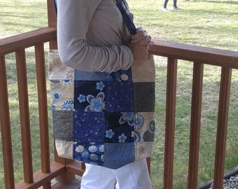 Quilted Tote Bag // Fabric is Satsuki by Robert Kaufman fabrics,  Blues & tans with gold trim, Book bag or Carry-on bag, Market bag