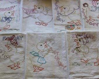 Embroidered Tea Towels - Hand Embroidered Tea Towels - Days of the Week - Set of 7 - Ducks
