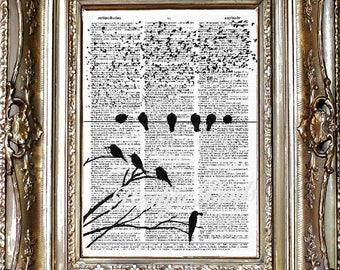 Birds Dictionary Art Print, Birds Sheet Music Print, Vintage Paper Print, Dictionary Art, Sheet Music Art, Birds on a Wire Art Print