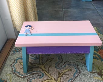Personalized Children's Step Stool / Step Stool / Personalized Step Stool / Wood Stool / Painted Step Stool / Child Stool