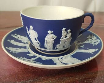 Wedgewood Jasperware cobalt blue cup and saucer Grecian style