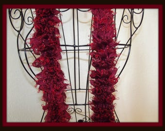Red Skinny Scarf, Light and Airy Scarf, Thin Neck Scarf, Red Scarf, Red Fluffy Scarf, Long Neck Scarf, Neck Accessory, Dress Up Scarf